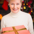 Smiling active seniors holding a gift at christmas — Stock Photo #60837191