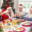 Multi generation family in santa hat toasting each other — Stock Photo #60838651