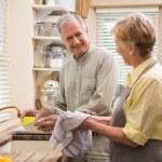 Senior couple washing the dishes — Stock Photo #60839621