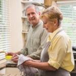 Senior couple washing the dishes — Stock Photo #60839629