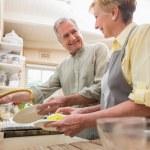 Senior couple washing the dishes — Stock Photo #60839659