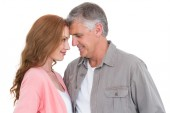 Casual couple hugging and smiling — Stock Photo