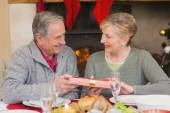 Senior man offering a christmas present to his wife — Stock Photo