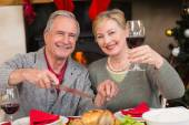Man carving chicken while his wife drinking red wine — Stock Photo