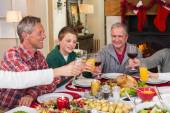 Multi generation family toasting each other at dinner — Stock Photo
