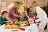 Three generation family having christmas dinner together — Stock Photo