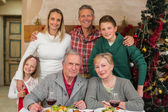Happy extended family looking at camera at christmas time — Stock fotografie