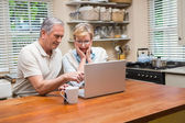 Senior couple using the laptop together — Foto de Stock