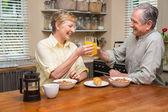 Senior couple having breakfast together — Stock Photo