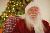 Retrato do Papai Noel com seus óculos — Fotografia Stock