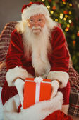 Cheerful santa claus holding present — Stock Photo