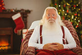 Happy santa without his jacket — 图库照片
