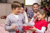 Brother and sister holding gift and baubles — Stockfoto