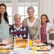 Happy extended family at christmas dinner posing at camera — Stock Photo #60886675