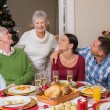 Happy family posing and looking the grandmother — Stock Photo #60887113
