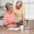 Senior couple paying their bills with laptop — Stock Photo #60887703
