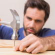 Casual man hammering nail in plank — Stock Photo #60888709