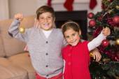 Happy brother and sister holding baubles  — Foto de Stock