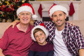 Smiling men of the family posing at christmas  — Stock Photo