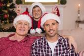Son joking to his father and grandfather — Stock Photo