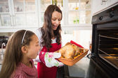 Surprised mother and daughter with roast turkey — Stock Photo