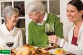 Senior couple laughing at christmas dinner — Stock Photo