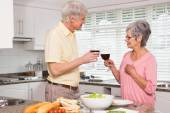 Senior couple preparing lunch together having red wine — Stock Photo