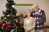 Senior couple decorating their christmas tree — Stock Photo