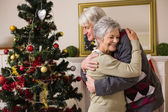 Senior couple hugging beside their christmas tree — Stock Photo