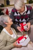 Senior couple sitting beside their christmas tree — Stock Photo