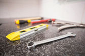 Plumbing tools on the counter — Stock Photo