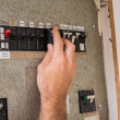 Electrician working on the fuse box — Stock Photo #60915095