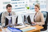 Focused business people using computer — Zdjęcie stockowe
