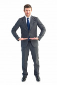 Businessman standing with hands out — Stock Photo