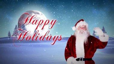 Santa waving at camera with happy holidays message — Stock Video