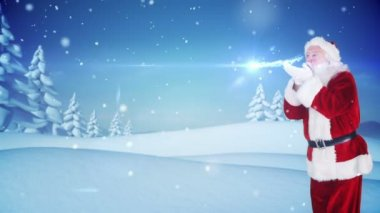 Santa delivering a christmas greeting in snowy landscape — Stock Video