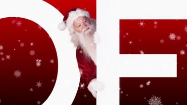 Santa peeking around joyeux noel on festive background — Stock Video
