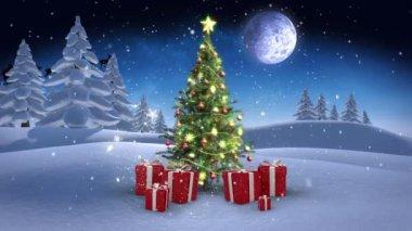 Christmas scene in winter setting — Stock Video