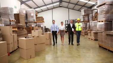 Warehouse managers and worker posing — Stockvideo