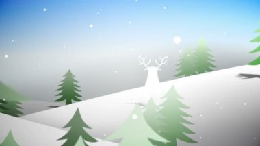 Cut out fir tree forest and flying santa with greeting — Vídeo de stock