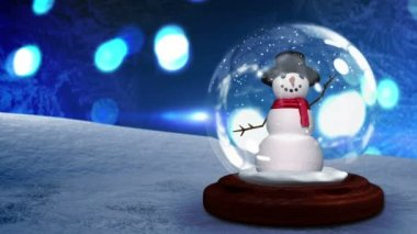 Snow man waving inside snow globe — Vidéo