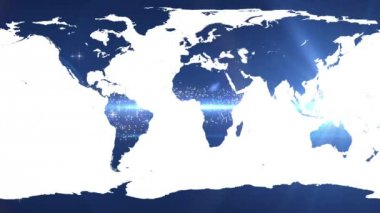 World map against shimmering blue background — Vídeo Stock