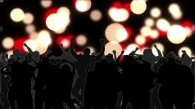 Dancing crowd with glowing circles of light moving on black — Stock Video