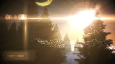 Christmas tree inside snow globe with magic greeting in spanish — Vidéo
