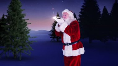 Santa making a magical christmas tree appear — Vídeo de stock