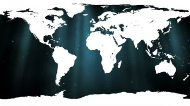 White world map against shimmering background — Vídeo Stock