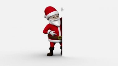 Cartoon santa presenting on white background — Stock Video