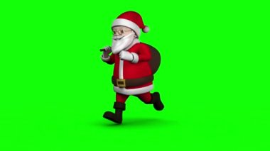 Cartoon Santa running on green background — Stock Video