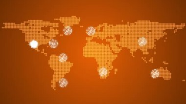 Global connections theme in orange — Stock Video