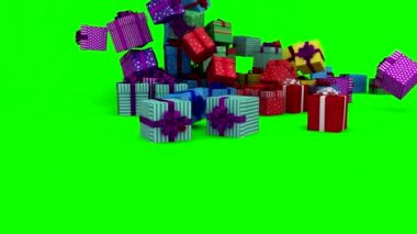 Christmas presents falling on green background — Stock Video
